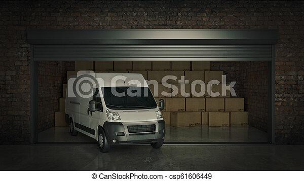 フルである, 自己, 貯蔵, レンダリング, 箱, ボール紙, truck., 開いた, ユニット, 3d - csp61606449