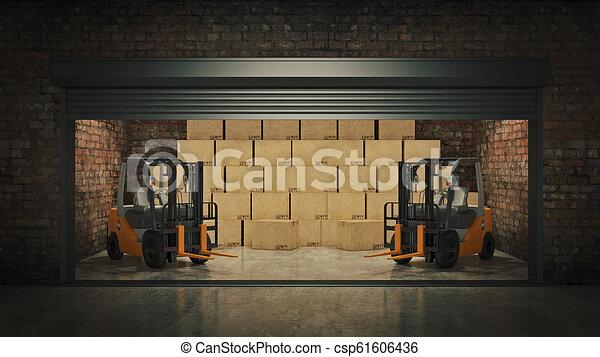 フルである, 自己, 貯蔵, boxes., レンダリング, ボール紙, 開いた, ユニット, 3d - csp61606436