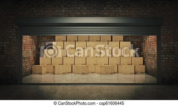 フルである, 自己, 貯蔵, boxes., レンダリング, ボール紙, 開いた, ユニット, 3d - csp61606445
