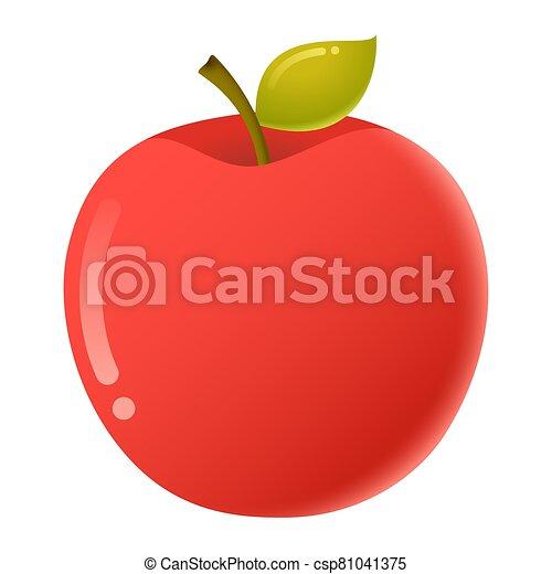 フルーツ, かわいい, 隔離された, 白い背景, 漫画, ベクトル, アップル - csp81041375