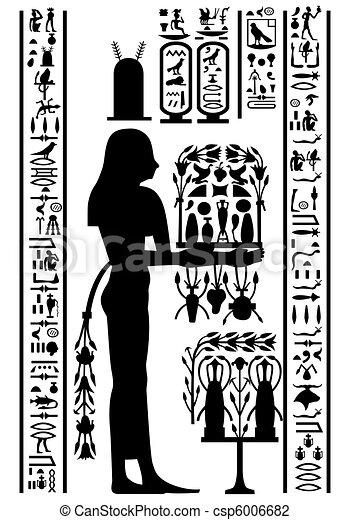 フレスコ画, 象形文字, エジプト人 - csp6006682