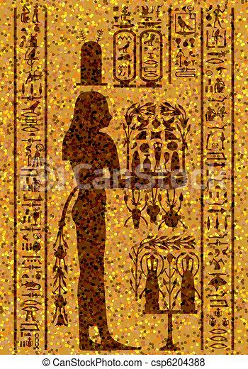 フレスコ画, 象形文字, エジプト人 - csp6204388