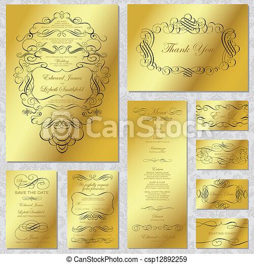 フレーム, ベクトル, セット, 金, 結婚式 - csp12892259