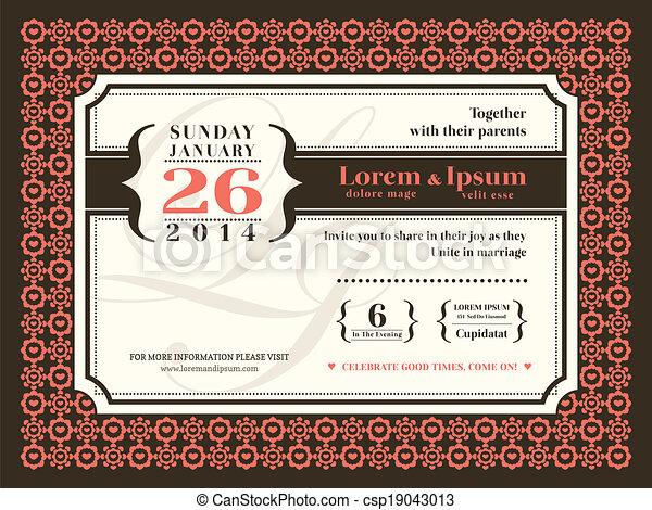 フレーム, 招待, ボーダー, 背景, 結婚式 - csp19043013