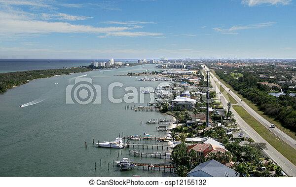 フロリダ, 水路, 航空写真, 儀礼飛行 - csp12155132