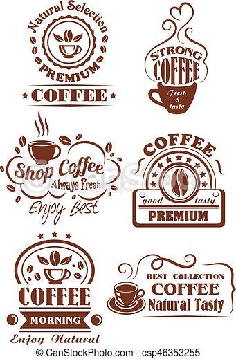 ブラウン コーヒーカップ ラベル デザイン カフェ アイコン 店