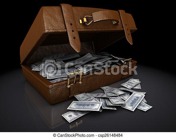 ブラウン, ビルズ, ドル, スーツケース - csp26148484
