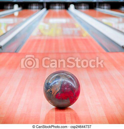 ブラウン, ボール, alley., ボウリング - csp24644737