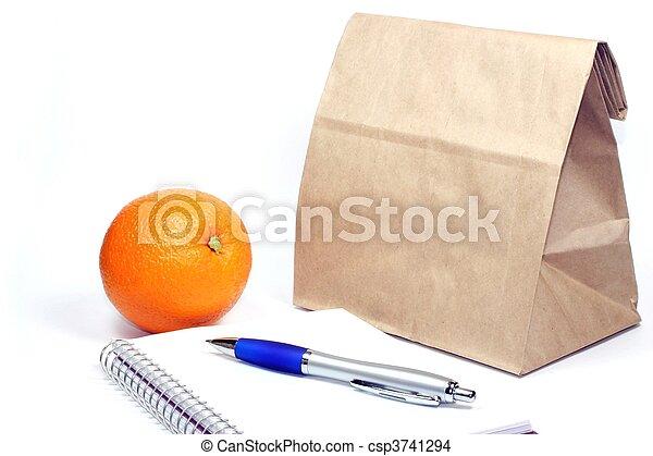 ブラウン, ミーティング, 袋, 昼食 - csp3741294
