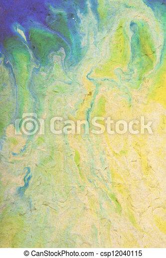 ブラウン, 古い, 青, 抽象的, 黄色, パターン, paper:, 背景, textured, 緑, 背景 - csp12040115