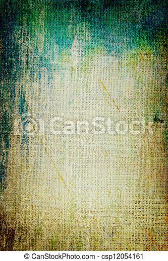 ブラウン, 古い, 青, canvas:, 抽象的, 黄色, パターン, 背景, textured, 緑, 背景 - csp12054161