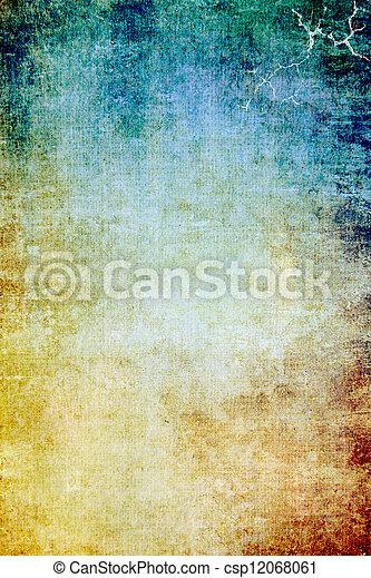 ブラウン, 古い, 青, canvas:, 抽象的, 黄色, パターン, 背景, textured, 緑, 背景 - csp12068061