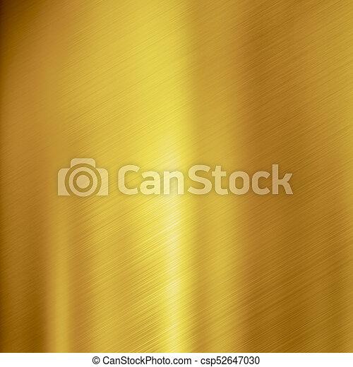 ブラシをかけられた金属, 金, 手ざわり, 背景 - csp52647030