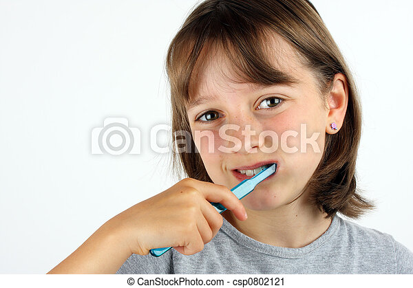 ブラシをかけること, 女の子, 若い, 彼女, 歯 - csp0802121