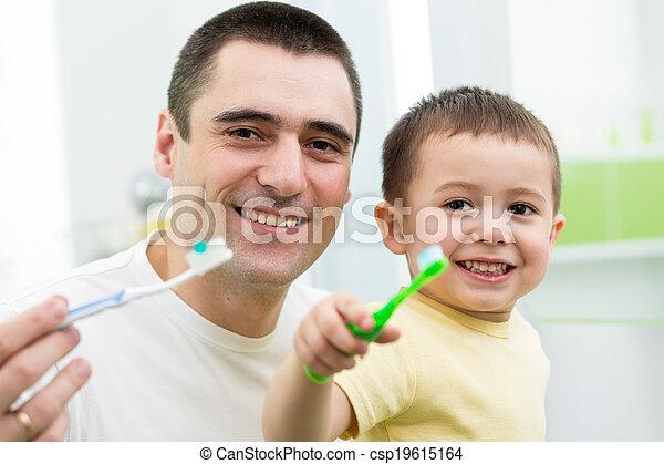 ブラシをかけること, 浴室, 子供, 父, 息子, 歯 - csp19615164