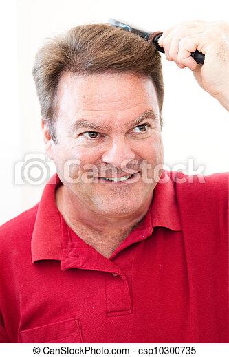 ブラシをかける 毛, 彼の, 人 - csp10300735