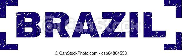 ブラジル, グランジ, 切手, コーナー, 中, シール, textured - csp64804553