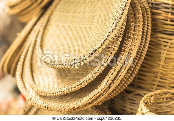 ブラジル, aracaju, 手工芸, わら, バスケット, 小片, いくつか - csp64238235
