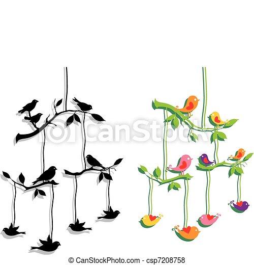 ブランチ, ベクトル, 木, 鳥 - csp7208758