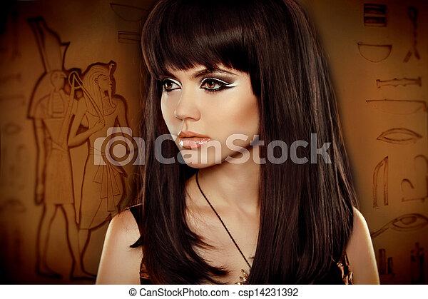 ブルネット, エジプト人, 女の子, 象形文字, 上に, hair., 美しい - csp14231392
