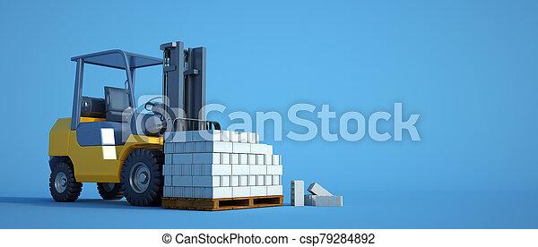 ブロック, フォークリフト, 青, セメント - csp79284892