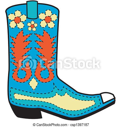 ブーツ, 芸術, 西部, クリップ - csp1397187