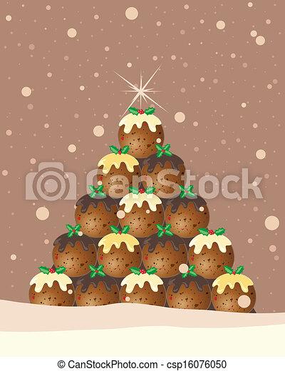 プディング, クリスマス, 背景 - csp16076050