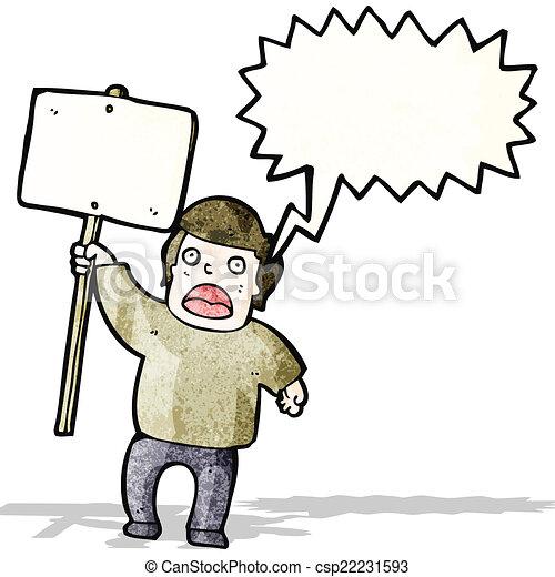 プラカード, protestor, 政治的である - csp22231593