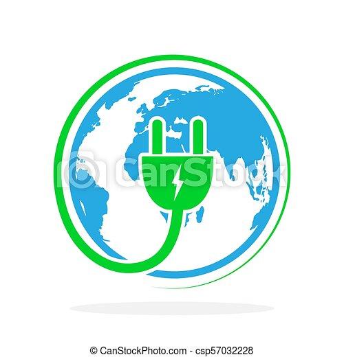 プラグ, illustration., 地球, ベクトル, 電気である, icon. - csp57032228