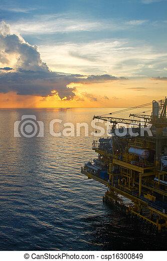 プラットホーム, オイル, ガス, 湾 - csp16300849