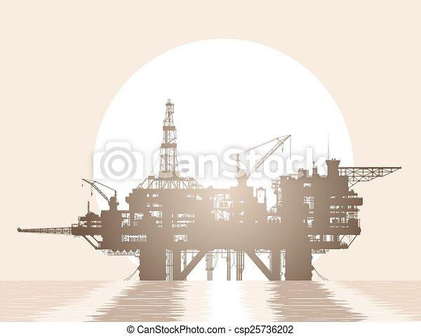 プラットホーム, オイル, rig., 海 - csp25736202