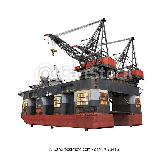 プラットホーム, 油田採掘, 沖合いに, 用具一式 - csp17073416