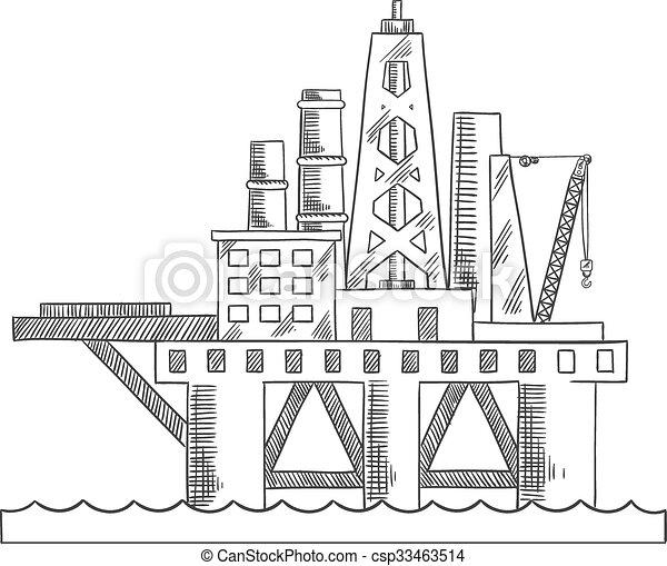 プラットホーム, 油田採掘, 海, 沖合いに - csp33463514