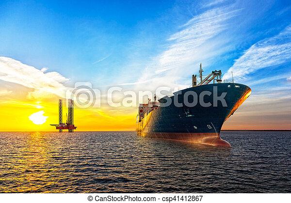プラットホーム, 船, オイル - csp41412867
