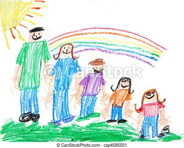 プリミティブ, 子供, クレヨン描画, 家族 - csp4585551