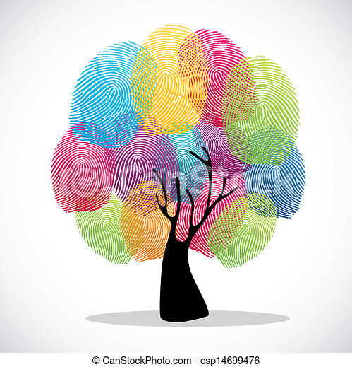 プリント, 指, 多様性, 木 - csp14699476