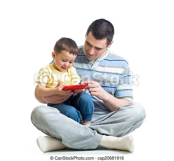 プレーしなさい, タブレット, 読まれた, 父, 見る, コンピュータ, 子供 - csp20681916