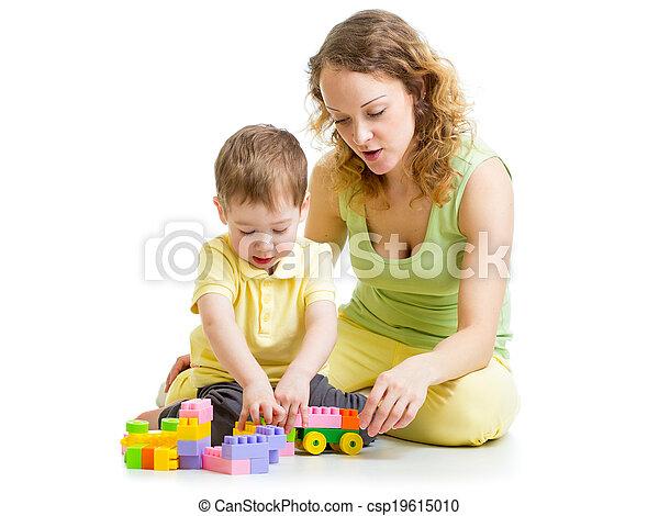 プレーしなさい, 子供, ブロック, お母さん, おもちゃ - csp19615010