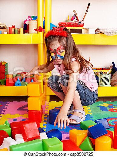 プレーセット, room., 困惑, 建設, 子供, ブロック - csp8502725