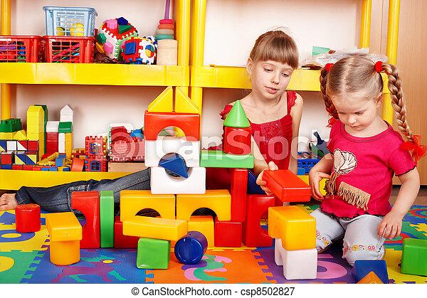 プレーセット, room., 困惑, 建設, 子供, ブロック - csp8502827
