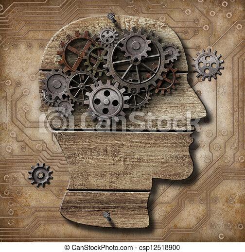 プレート, 作られた, グランジ, 人間の頭脳, 上に, 金属, ブタ, 錆ついた, ギヤ, 回路 - csp12518900