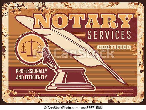 プレート, 法的, notary, サービス, 弁護士, 金属, 錆ついた - csp86671586