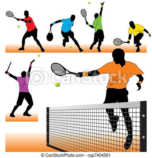 プレーヤー, シルエット, テニス, セット, 6 - csp7404561