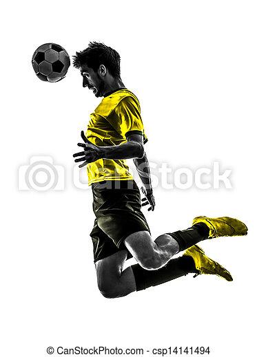 プレーヤー, シルエット, 人, ブラジル人, サッカーフットボール, ヘッディング, 若い - csp14141494