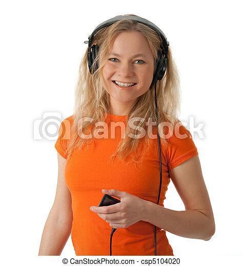 プレーヤー, 微笑, ヘッドホン, mp3, 女の子 - csp5104020