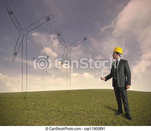 プロジェクト, タービン, エネルギー, 風 - csp11900891