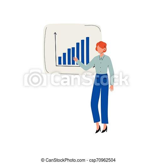 プロジェクト, 寄付, 女性実業家, チャート, イラスト, とんぼ返り, ベクトル, 提出すること, グラフ提示, 人 - csp70962504