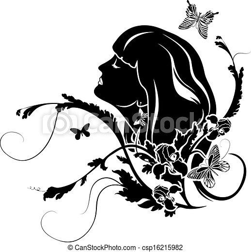 プロフィール, 花, 女性 - csp16215982