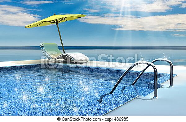プール, 水泳 - csp1486985