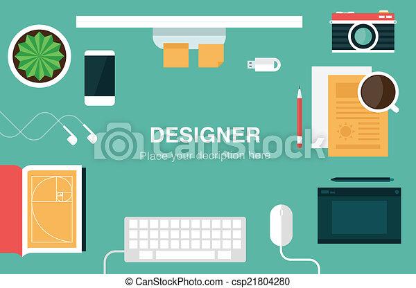 ヘッダー, デザイナー, 机 - csp21804280